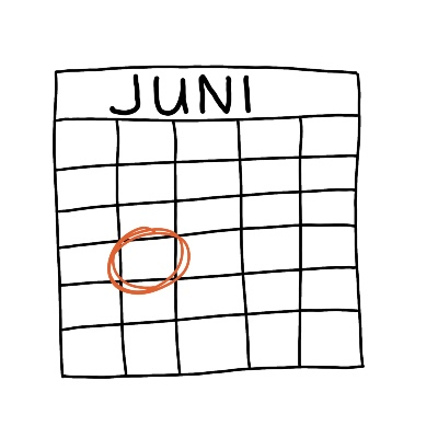 Eenvoudige tekening kalender datum juni deadline