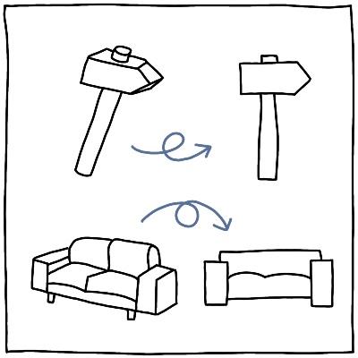 Eenvoudige tekening maken hamer bank plat slaan visueel alfabet