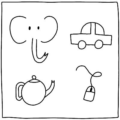 Eenvoudige tekeningen maken met visueel alfabet olifant auto theepot muis