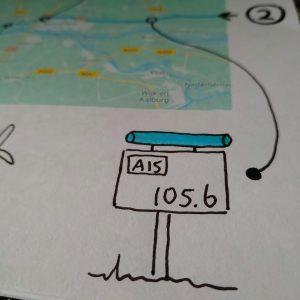 Hectometerpaal A15 herkenningspunt autoreis jonge kinderen