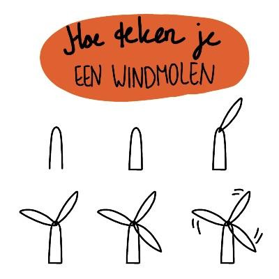 Hoe teken je een windmolen symbool icon tekening stappenplan
