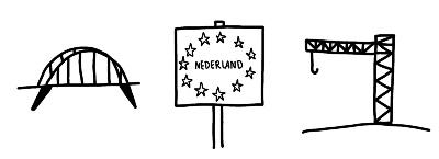 Visuele routekaart eenvoudige symbolen landsgrens grens brug en hijskraan icon